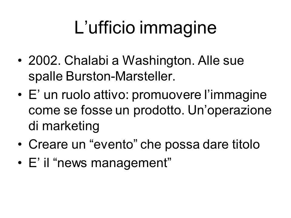 Lufficio immagine 2002. Chalabi a Washington. Alle sue spalle Burston-Marsteller.