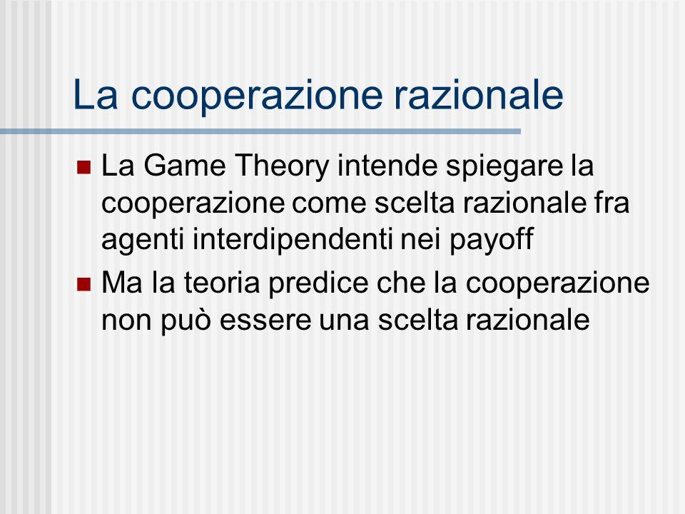 La cooperazione razionale La Game Theory intende spiegare la cooperazione come scelta razionale fra agenti interdipendenti nei payoff Ma la teoria pre