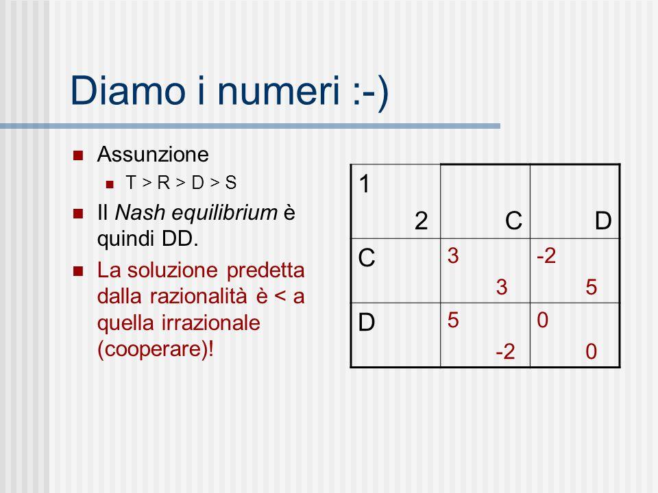 Diamo i numeri :-) Assunzione T > R > D > S Il Nash equilibrium è quindi DD. La soluzione predetta dalla razionalità è < a quella irrazionale (coopera