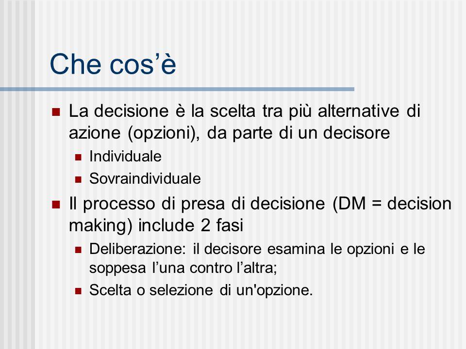 Che cosè La decisione è la scelta tra più alternative di azione (opzioni), da parte di un decisore Individuale Sovraindividuale Il processo di presa d