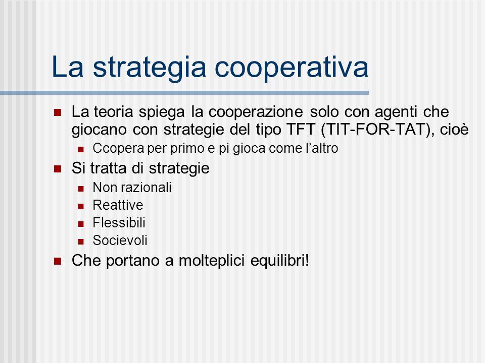 La strategia cooperativa La teoria spiega la cooperazione solo con agenti che giocano con strategie del tipo TFT (TIT-FOR-TAT), cioè Ccopera per primo