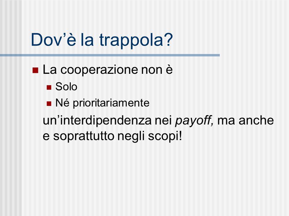 Dovè la trappola? La cooperazione non è Solo Né prioritariamente uninterdipendenza nei payoff, ma anche e soprattutto negli scopi!
