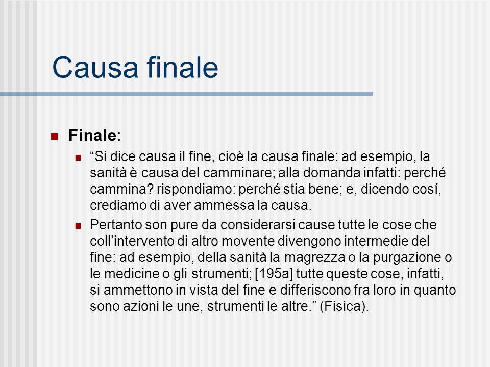 Finale: Si dice causa il fine, cioè la causa finale: ad esempio, la sanità è causa del camminare; alla domanda infatti: perché cammina? rispondiamo: p