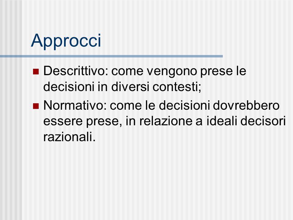 Approcci Descrittivo: come vengono prese le decisioni in diversi contesti; Normativo: come le decisioni dovrebbero essere prese, in relazione a ideali