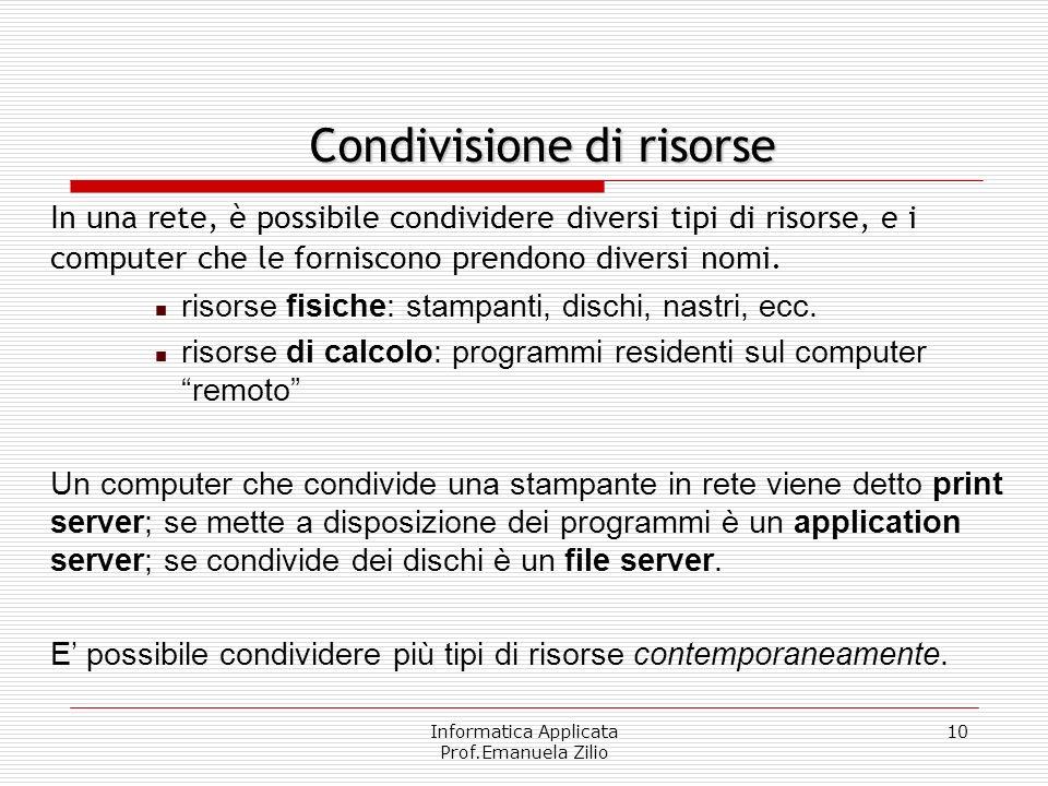 Informatica Applicata Prof.Emanuela Zilio 9 Una rete (network) di computer è dunque un insieme di calcolatori collegati tra loro in maniera fisica (tr
