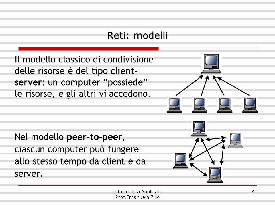 Informatica Applicata Prof.Emanuela Zilio 17 La rete funziona solo parzialmente RAFFRONTO DI RESISTENZA AI GUASTI La rete non funziona Centro Stella L