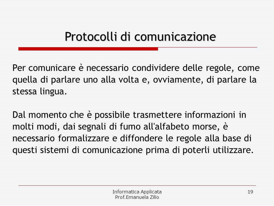 Informatica Applicata Prof.Emanuela Zilio 18 Reti: modelli Il modello classico di condivisione delle risorse è del tipo client- server: un computer po