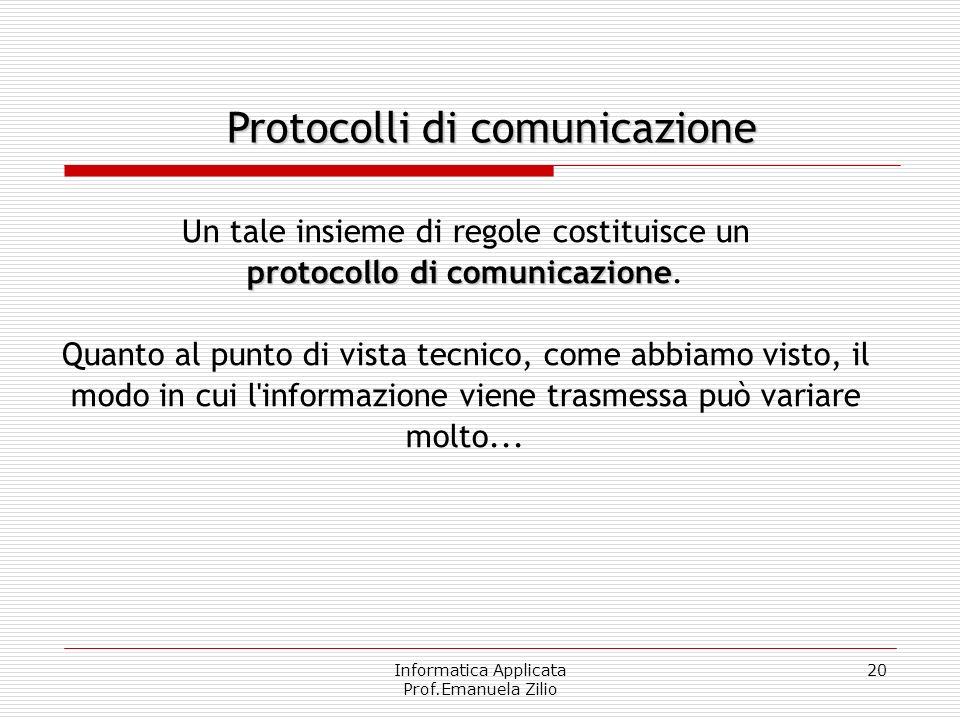 Informatica Applicata Prof.Emanuela Zilio 19 Per comunicare è necessario condividere delle regole, come quella di parlare uno alla volta e, ovviamente