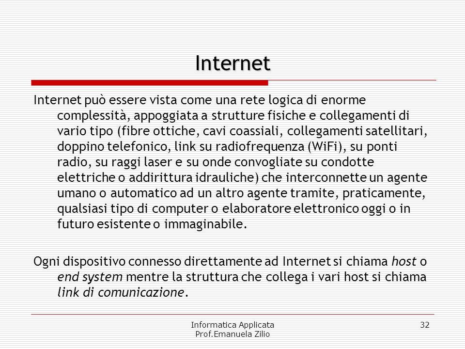 Informatica Applicata Prof.Emanuela Zilio 31 agglomerato di reti reti telefoniche pubbliche i ponti radio dorsali oceaniche Non è dunque una rete omog