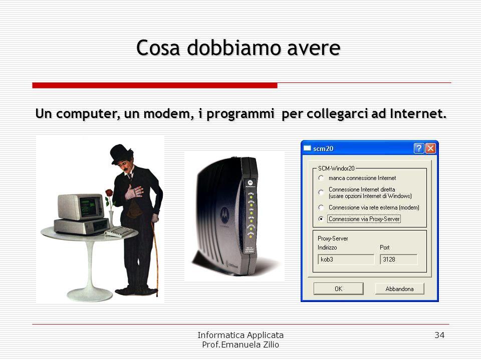 Informatica Applicata Prof.Emanuela Zilio 33 Quando volete mettere un telefono in casa, sapete già che le linee telefoniche sono reti di reti di fili