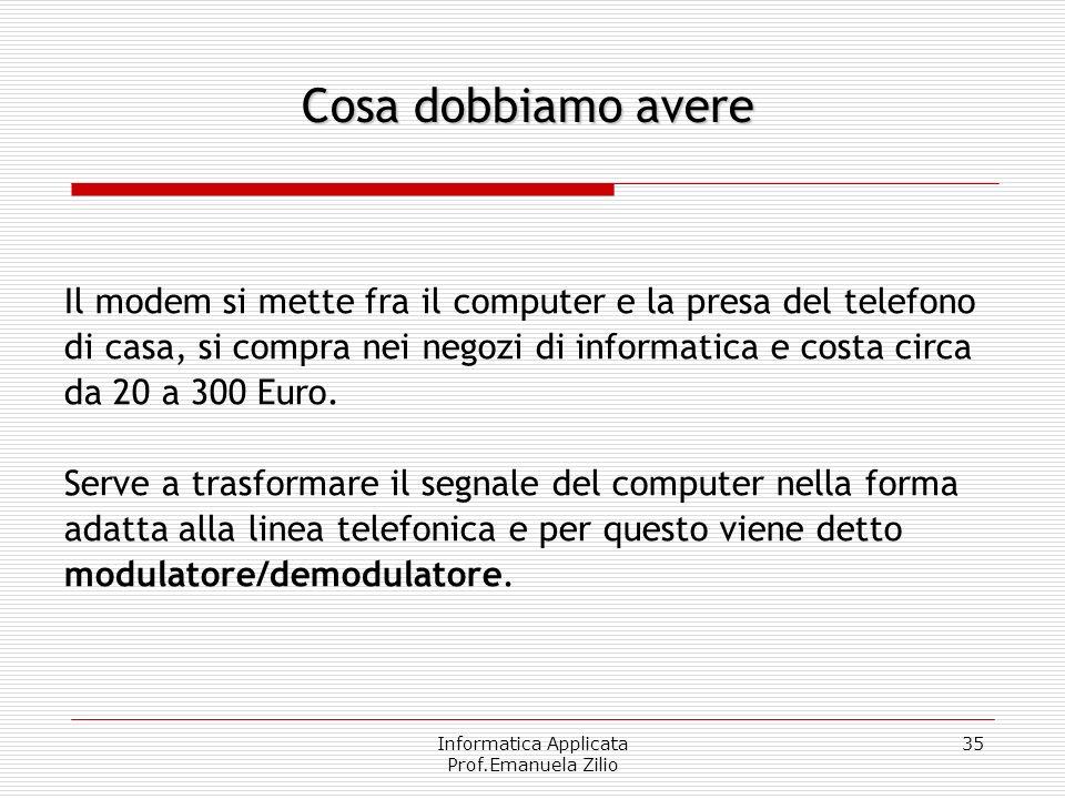 Informatica Applicata Prof.Emanuela Zilio 34 Un computer, un modem, i programmi per collegarci ad Internet. Cosa dobbiamo avere
