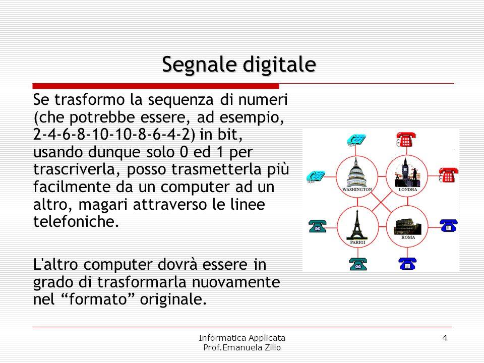 Informatica Applicata Prof.Emanuela Zilio 3 digitale Se il segnale analogico viene misurato ad intervalli regolari di tempo e sufficientemente frequen