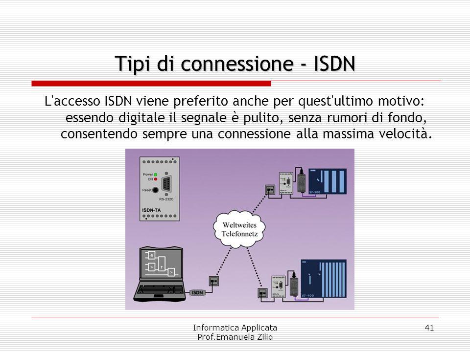 Informatica Applicata Prof.Emanuela Zilio 40 Connessione digitale. La differenza tra le connessioni PSTN e ISDN deriva dalla modalità di trasmissione: