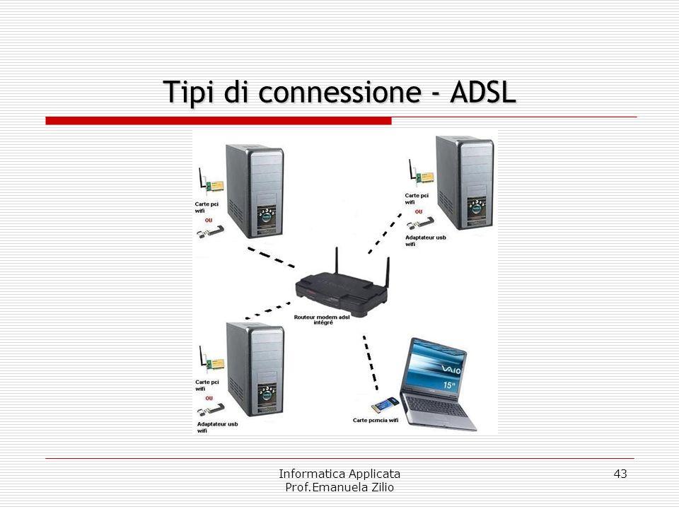 Informatica Applicata Prof.Emanuela Zilio 42 Asymmetric Digital Subscriber Line ADSL (Asymmetric Digital Subscriber Line) è, almeno in Italia, la più