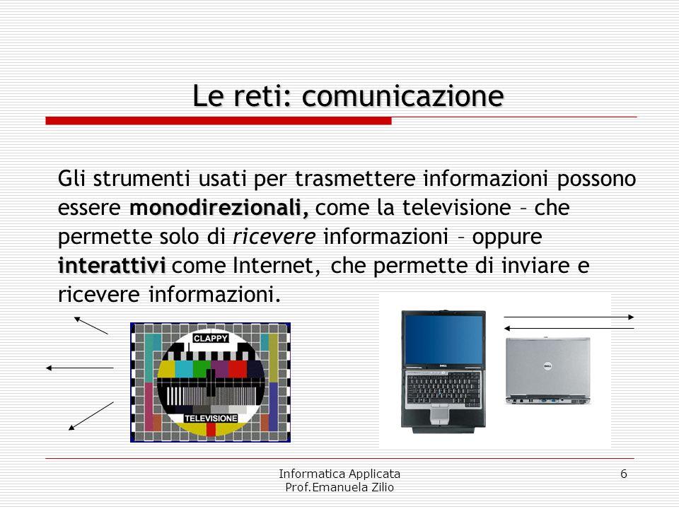 Informatica Applicata Prof.Emanuela Zilio 6 onodirezionali, interattivi Gli strumenti usati per trasmettere informazioni possono essere monodirezionali, come la televisione – che permette solo di ricevere informazioni – oppure interattivi come Internet, che permette di inviare e ricevere informazioni.