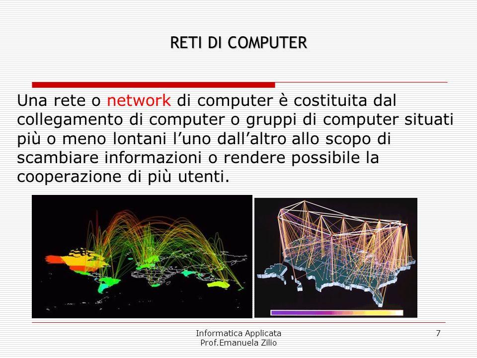 Informatica Applicata Prof.Emanuela Zilio 7 RETI DI COMPUTER Una rete o network di computer è costituita dal collegamento di computer o gruppi di computer situati più o meno lontani luno dallaltro allo scopo di scambiare informazioni o rendere possibile la cooperazione di più utenti.