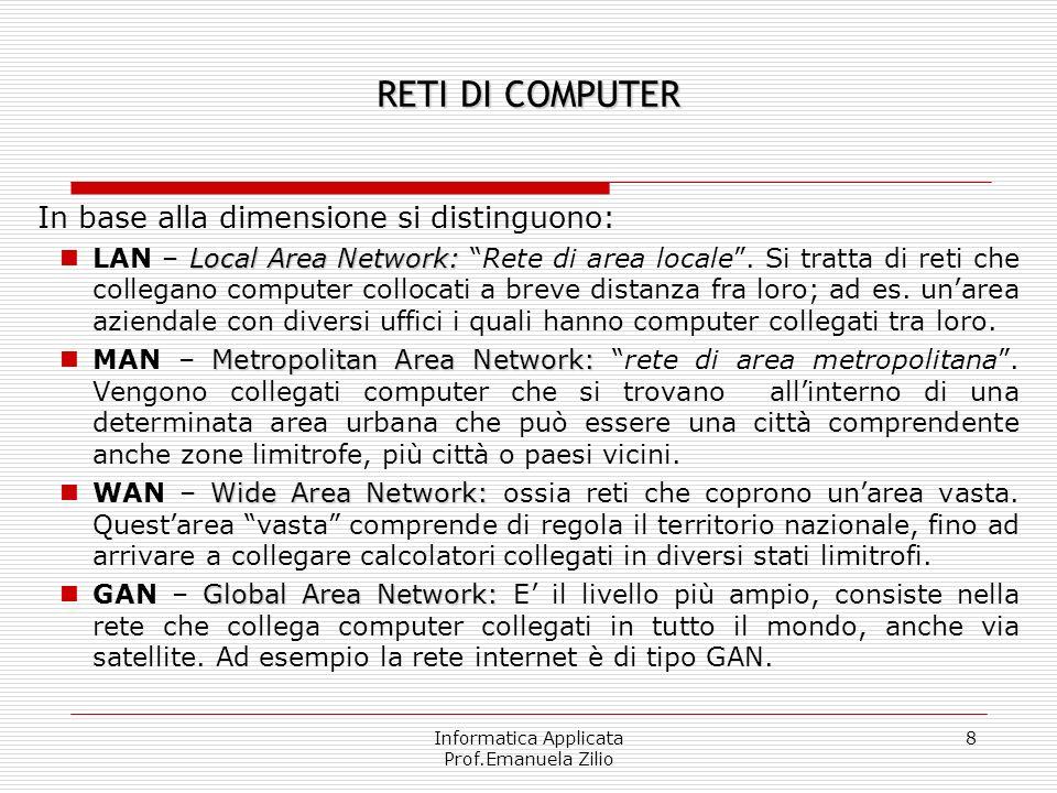 Informatica Applicata Prof.Emanuela Zilio 8 RETI DI COMPUTER In base alla dimensione si distinguono: Local Area Network: LAN – Local Area Network: Rete di area locale.