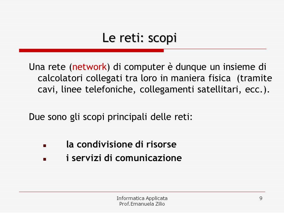 Informatica Applicata Prof.Emanuela Zilio 19 Per comunicare è necessario condividere delle regole, come quella di parlare uno alla volta e, ovviamente, di parlare la stessa lingua.
