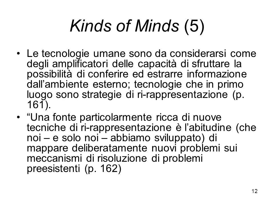 12 Kinds of Minds (5) Le tecnologie umane sono da considerarsi come degli amplificatori delle capacità di sfruttare la possibilità di conferire ed estrarre informazione dallambiente esterno; tecnologie che in primo luogo sono strategie di ri-rappresentazione (p.