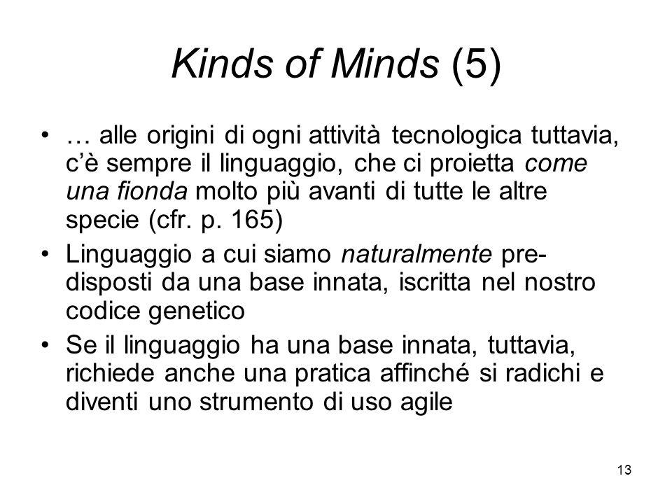 13 Kinds of Minds (5) … alle origini di ogni attività tecnologica tuttavia, cè sempre il linguaggio, che ci proietta come una fionda molto più avanti di tutte le altre specie (cfr.
