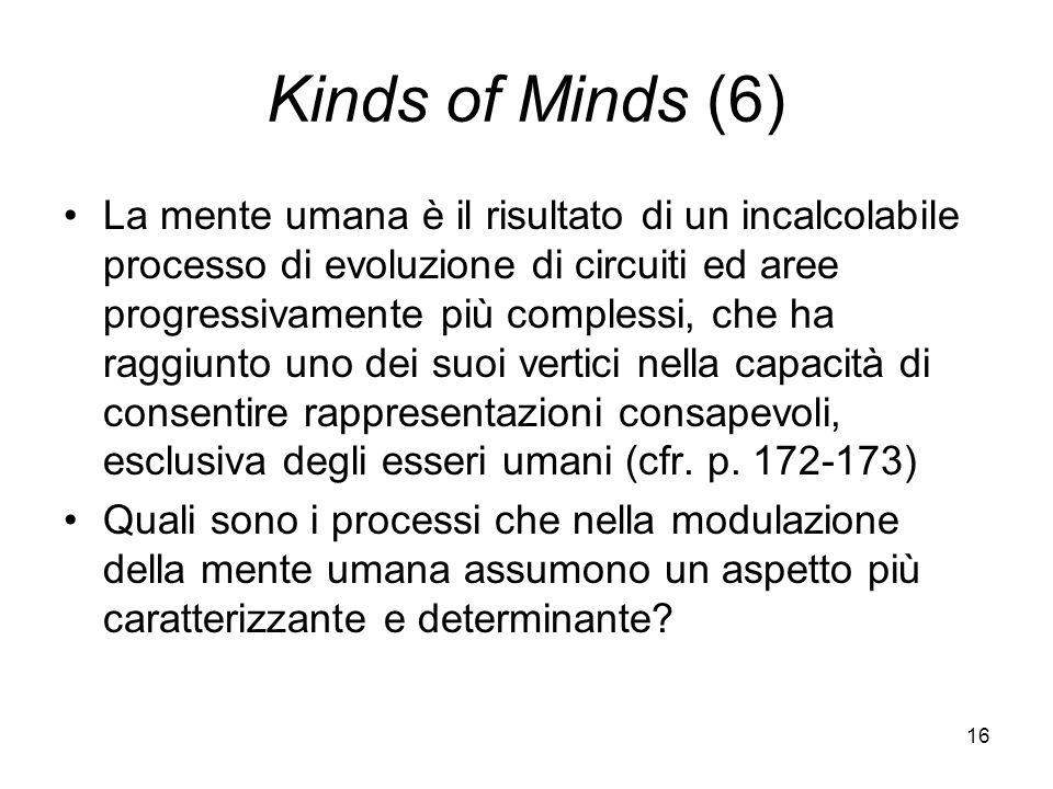 16 Kinds of Minds (6) La mente umana è il risultato di un incalcolabile processo di evoluzione di circuiti ed aree progressivamente più complessi, che ha raggiunto uno dei suoi vertici nella capacità di consentire rappresentazioni consapevoli, esclusiva degli esseri umani (cfr.