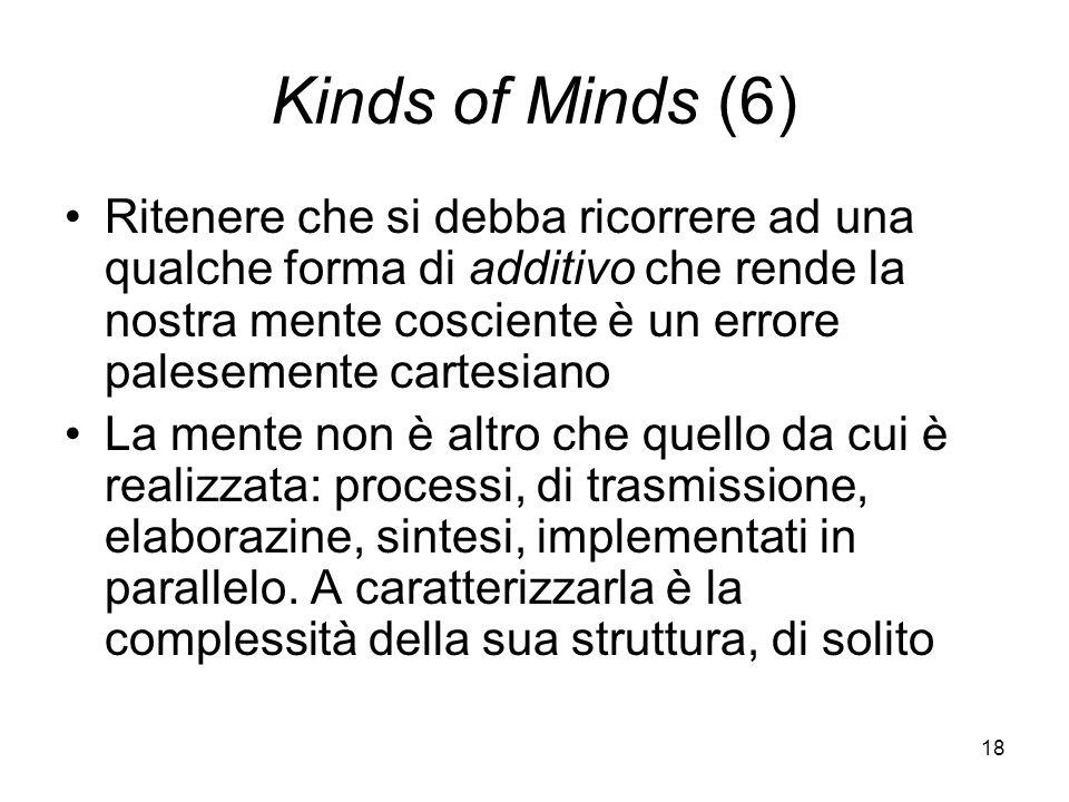 18 Kinds of Minds (6) Ritenere che si debba ricorrere ad una qualche forma di additivo che rende la nostra mente cosciente è un errore palesemente cartesiano La mente non è altro che quello da cui è realizzata: processi, di trasmissione, elaborazine, sintesi, implementati in parallelo.