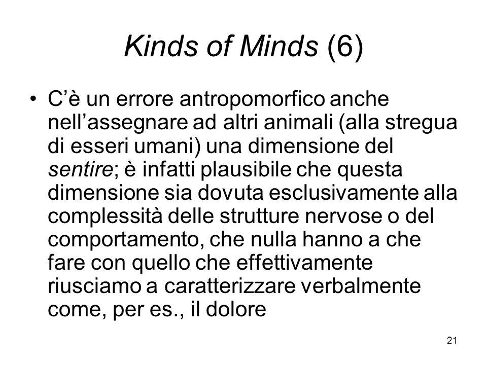 21 Kinds of Minds (6) Cè un errore antropomorfico anche nellassegnare ad altri animali (alla stregua di esseri umani) una dimensione del sentire; è infatti plausibile che questa dimensione sia dovuta esclusivamente alla complessità delle strutture nervose o del comportamento, che nulla hanno a che fare con quello che effettivamente riusciamo a caratterizzare verbalmente come, per es., il dolore