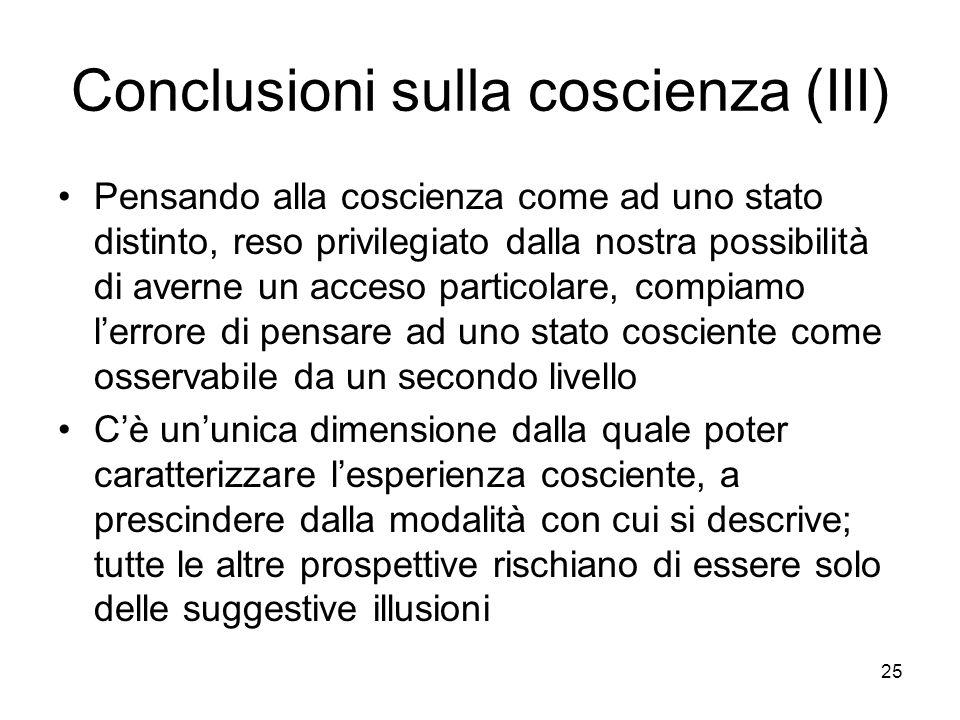 25 Conclusioni sulla coscienza (III) Pensando alla coscienza come ad uno stato distinto, reso privilegiato dalla nostra possibilità di averne un acces