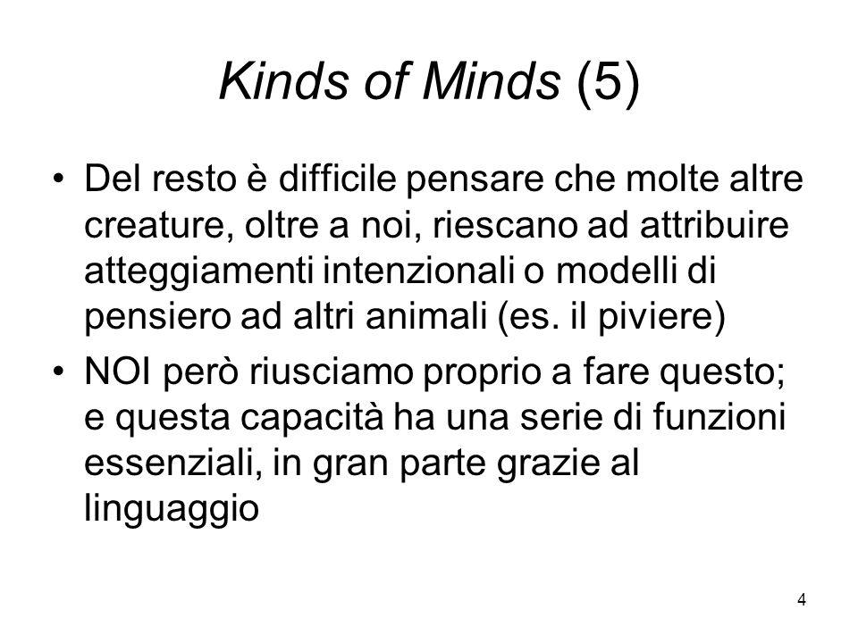 4 Kinds of Minds (5) Del resto è difficile pensare che molte altre creature, oltre a noi, riescano ad attribuire atteggiamenti intenzionali o modelli di pensiero ad altri animali (es.