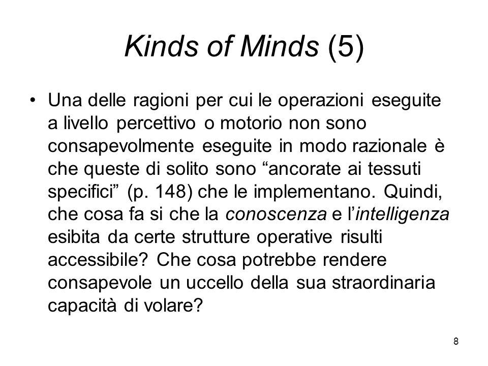 8 Kinds of Minds (5) Una delle ragioni per cui le operazioni eseguite a livello percettivo o motorio non sono consapevolmente eseguite in modo razionale è che queste di solito sono ancorate ai tessuti specifici (p.