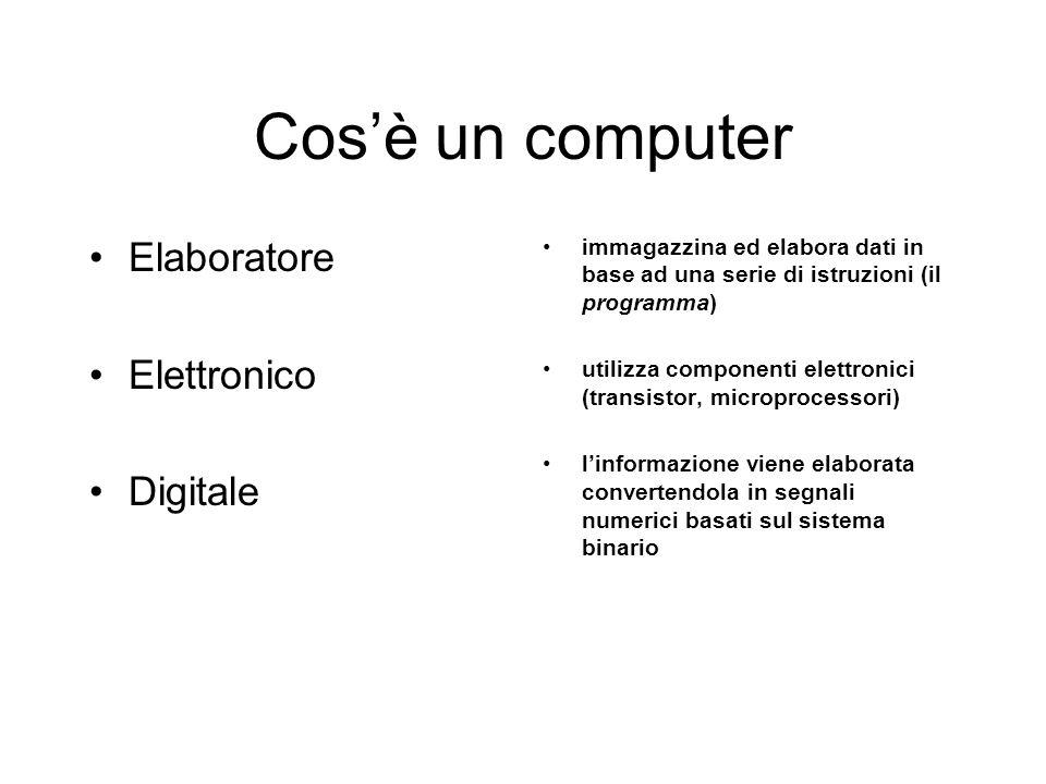 Cosè un computer Elaboratore Elettronico Digitale immagazzina ed elabora dati in base ad una serie di istruzioni (il programma) utilizza componenti elettronici (transistor, microprocessori) linformazione viene elaborata convertendola in segnali numerici basati sul sistema binario