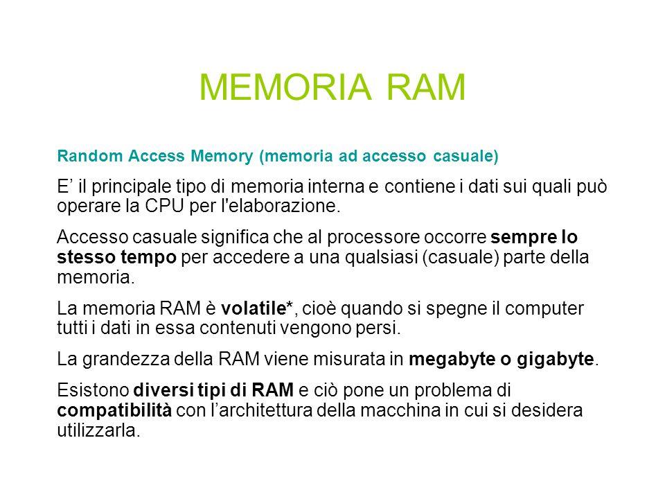 MEMORIE MEMORIA INTERNA (O PRIMARIA) Formata da microcircuiti elettronici chiamati microchip. Si divide in: RAM: Random Access Memory ROM: Read Only M