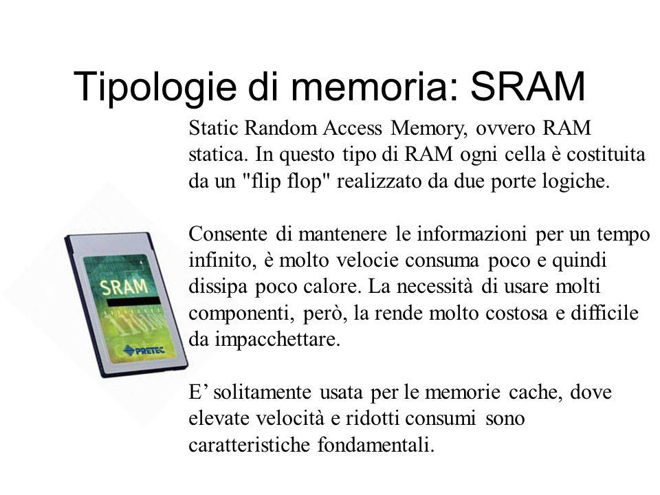 MEMORIA RAM Random Access Memory (memoria ad accesso casuale) E il principale tipo di memoria interna e contiene i dati sui quali può operare la CPU p