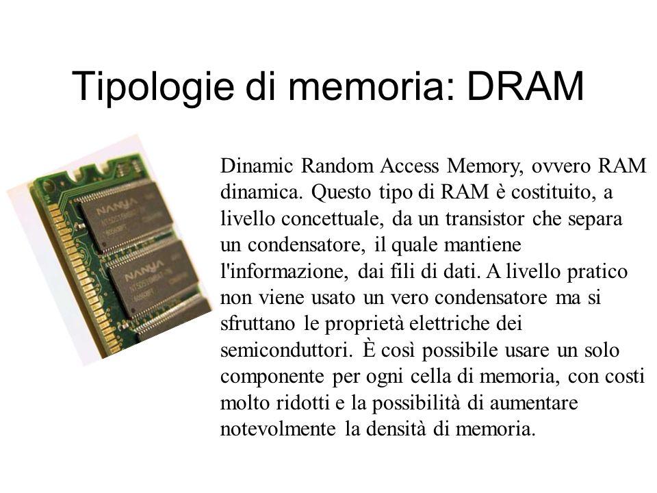 Tipologie di memoria: SRAM Static Random Access Memory, ovvero RAM statica. In questo tipo di RAM ogni cella è costituita da un