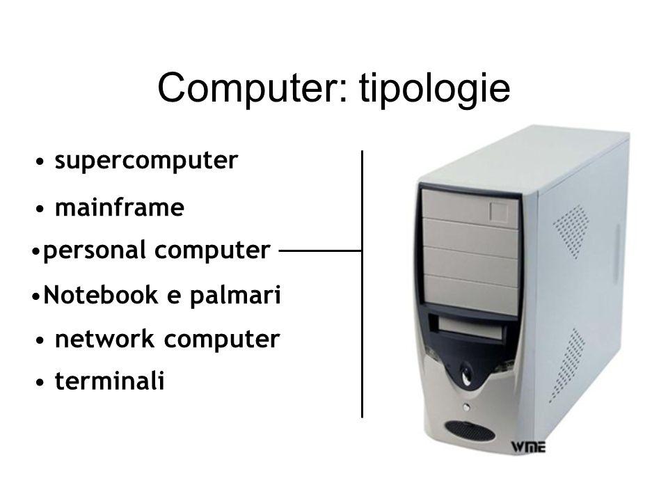 Computer: tipologie mainframe network computer terminali supercomputer funzioni centralizzate di elaborazione dati dimensioni notevoli personal comput