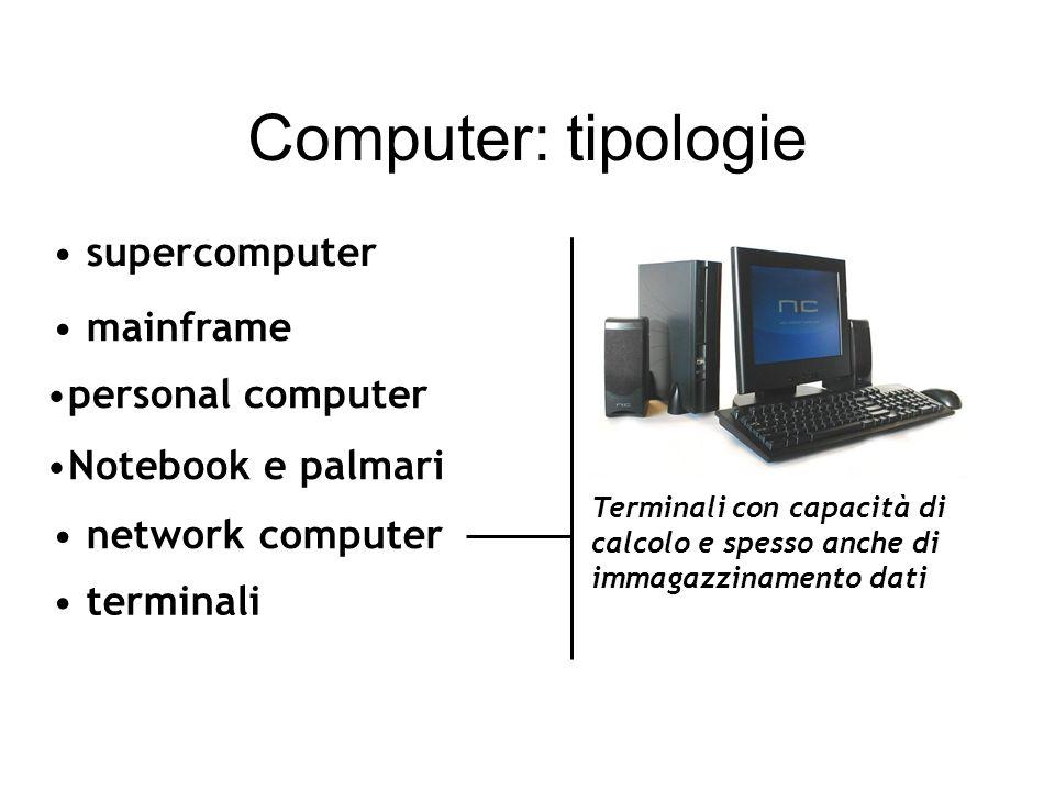 mainframe network computer terminali supercomputer Terminali con capacità di calcolo e spesso anche di immagazzinamento dati Computer: tipologie personal computer Notebook e palmari