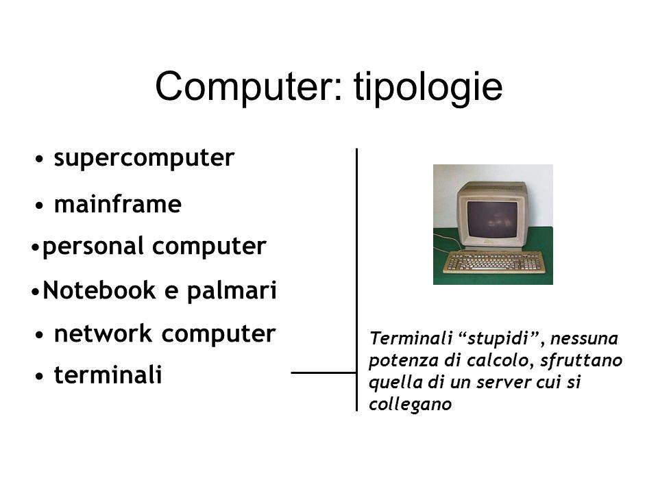mainframe network computer terminali supercomputer Terminali stupidi, nessuna potenza di calcolo, sfruttano quella di un server cui si collegano Computer: tipologie personal computer Notebook e palmari