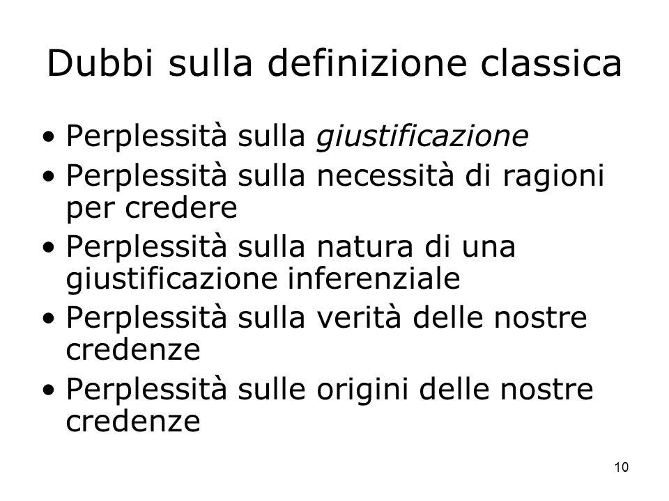 10 Dubbi sulla definizione classica Perplessità sulla giustificazione Perplessità sulla necessità di ragioni per credere Perplessità sulla natura di u