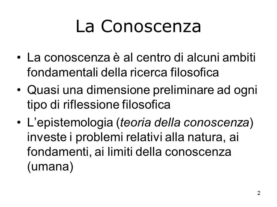 2 La Conoscenza La conoscenza è al centro di alcuni ambiti fondamentali della ricerca filosofica Quasi una dimensione preliminare ad ogni tipo di rifl