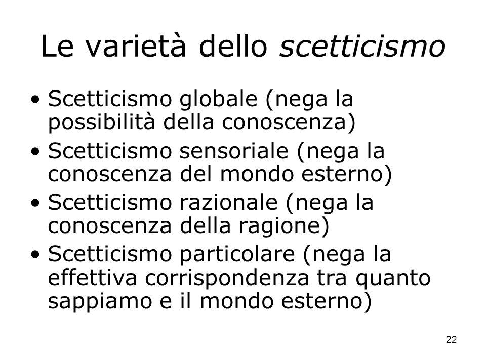 22 Le varietà dello scetticismo Scetticismo globale (nega la possibilità della conoscenza) Scetticismo sensoriale (nega la conoscenza del mondo estern