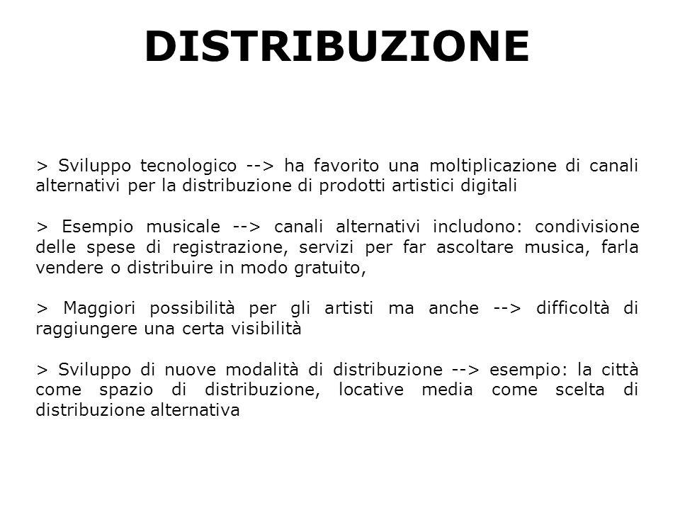 DISTRIBUZIONE > Sviluppo tecnologico --> ha favorito una moltiplicazione di canali alternativi per la distribuzione di prodotti artistici digitali > Esempio musicale --> canali alternativi includono: condivisione delle spese di registrazione, servizi per far ascoltare musica, farla vendere o distribuire in modo gratuito, > Maggiori possibilità per gli artisti ma anche --> difficoltà di raggiungere una certa visibilità > Sviluppo di nuove modalità di distribuzione --> esempio: la città come spazio di distribuzione, locative media come scelta di distribuzione alternativa