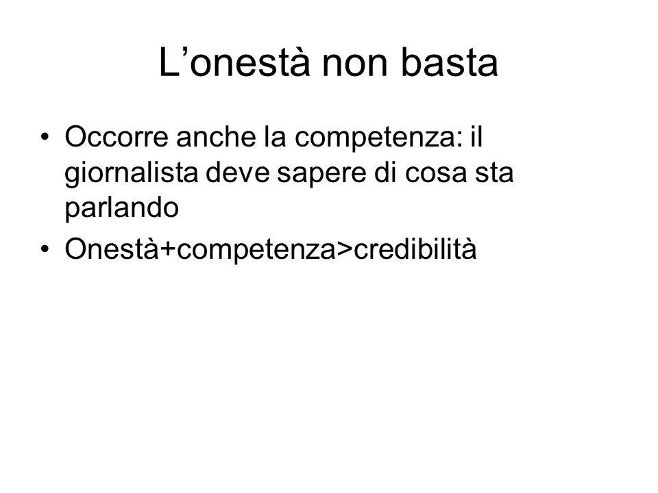 Lonestà non basta Occorre anche la competenza: il giornalista deve sapere di cosa sta parlando Onestà+competenza>credibilità