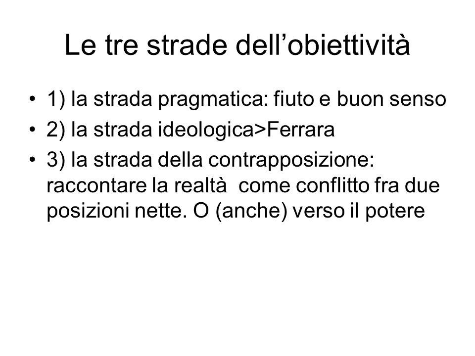 Le tre strade dellobiettività 1) la strada pragmatica: fiuto e buon senso 2) la strada ideologica>Ferrara 3) la strada della contrapposizione: raccont