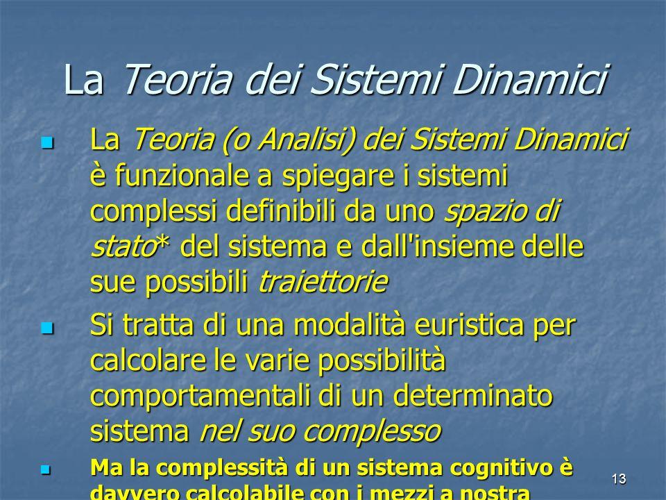 13 La Teoria dei Sistemi Dinamici La Teoria (o Analisi) dei Sistemi Dinamici è funzionale a spiegare i sistemi complessi definibili da uno spazio di s