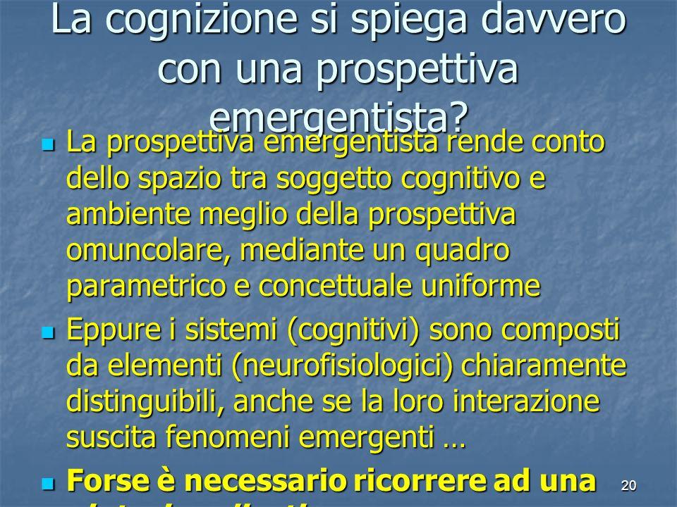 20 La cognizione si spiega davvero con una prospettiva emergentista? La prospettiva emergentista rende conto dello spazio tra soggetto cognitivo e amb
