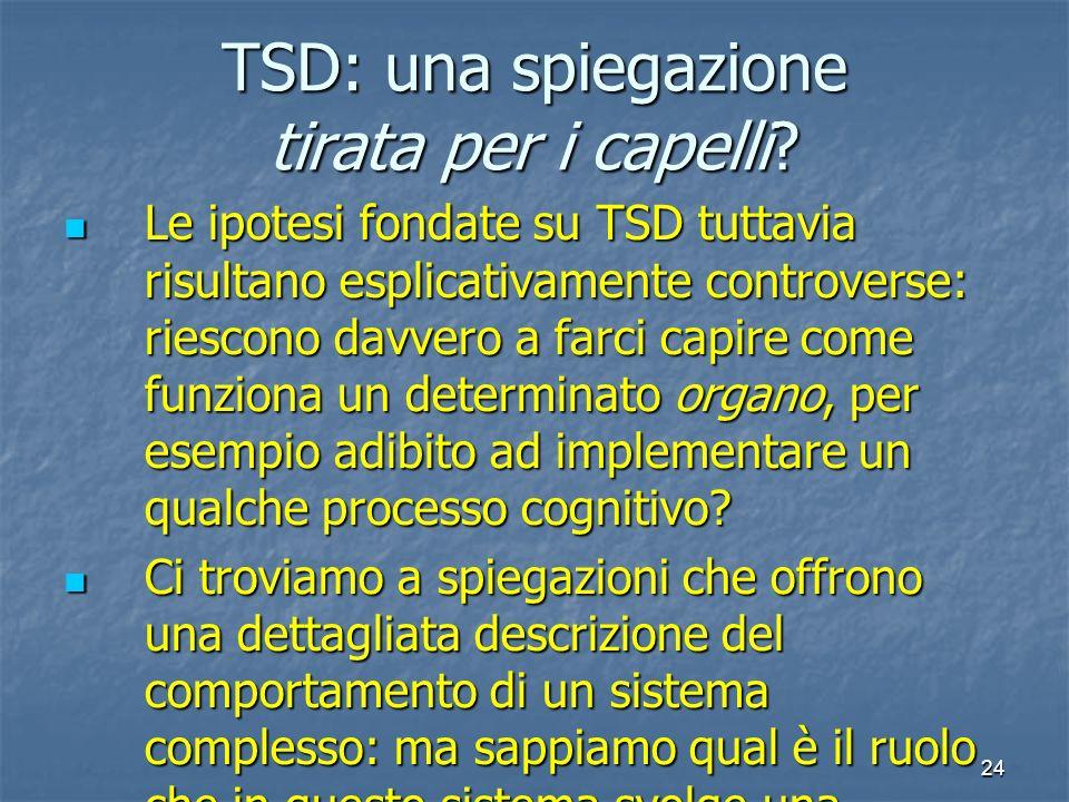 24 TSD: una spiegazione tirata per i capelli? Le ipotesi fondate su TSD tuttavia risultano esplicativamente controverse: riescono davvero a farci capi