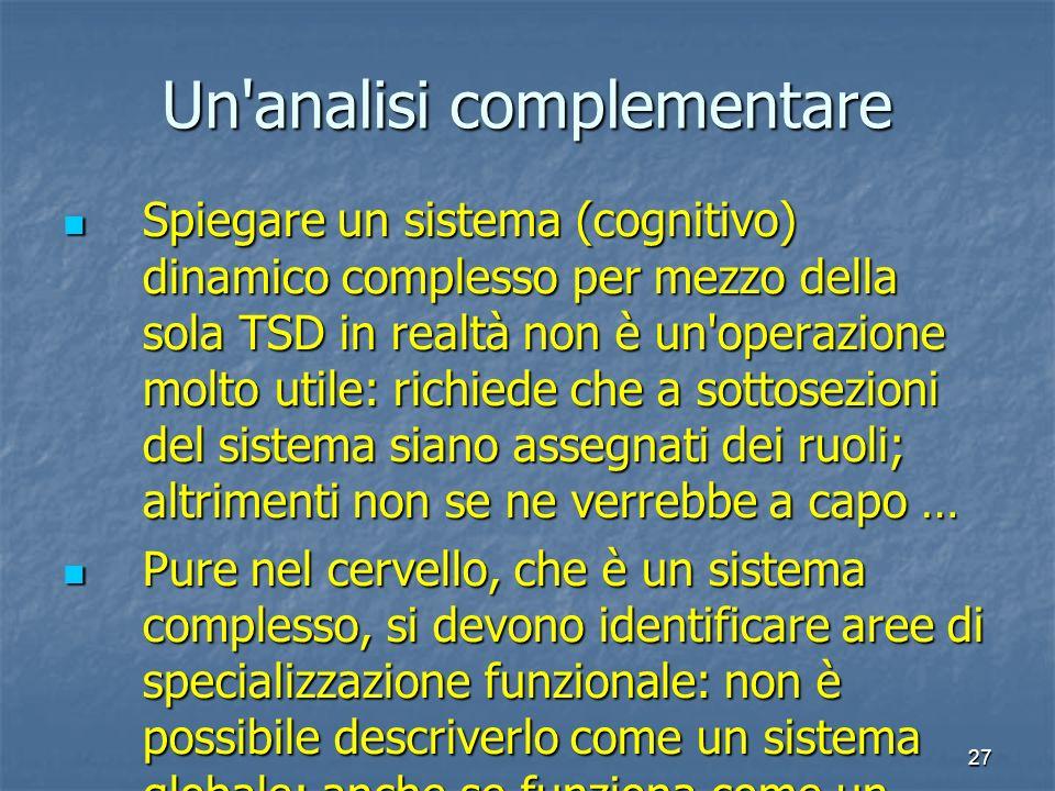 27 Un'analisi complementare Spiegare un sistema (cognitivo) dinamico complesso per mezzo della sola TSD in realtà non è un'operazione molto utile: ric