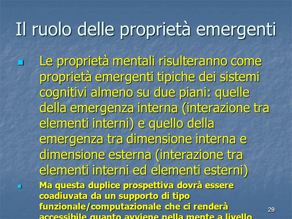 29 Il ruolo delle proprietà emergenti Le proprietà mentali risulteranno come proprietà emergenti tipiche dei sistemi cognitivi almeno su due piani: qu