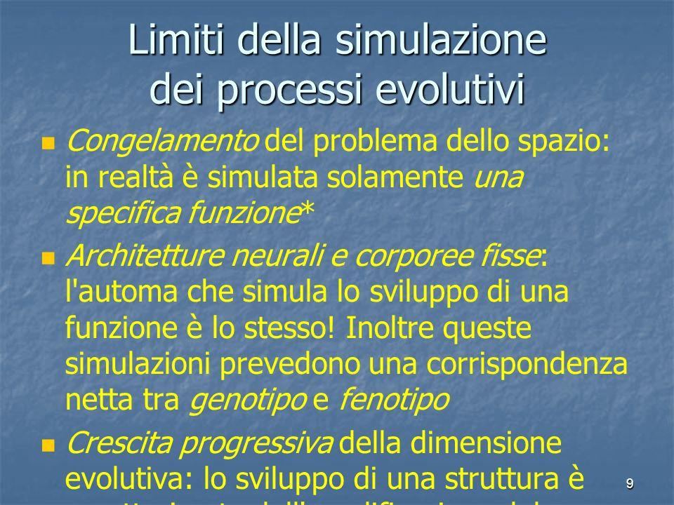 9 Limiti della simulazione dei processi evolutivi Congelamento del problema dello spazio: in realtà è simulata solamente una specifica funzione* Archi