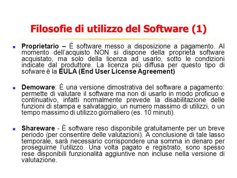 Filosofie di utilizzo del Software (1) Proprietario – È software messo a disposizione a pagamento. Al momento dellacquisto NON si dispone della propri